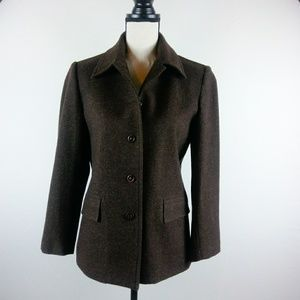 GAP Womens Wool Blend Chocolate Brown Jacket Lined